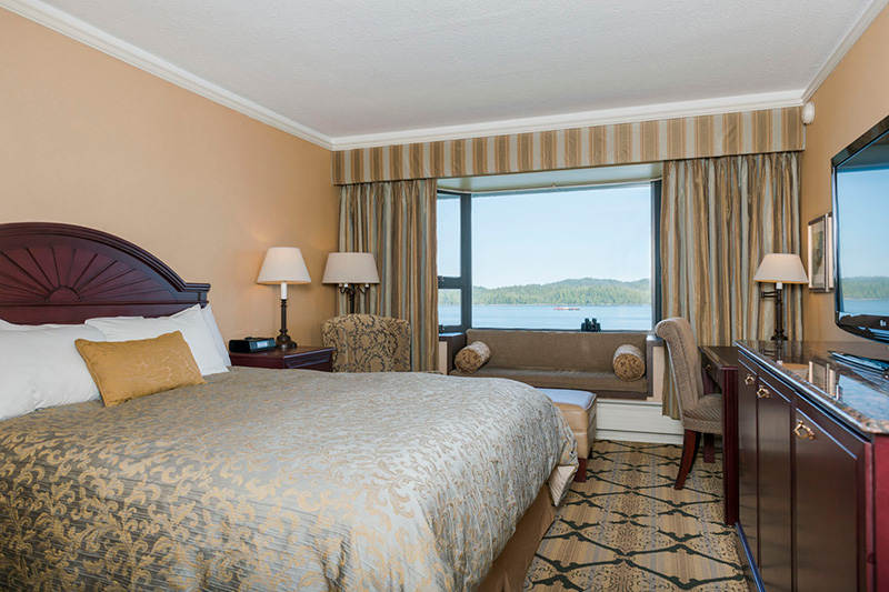 hotel room with ocean view of prince rupert harbour