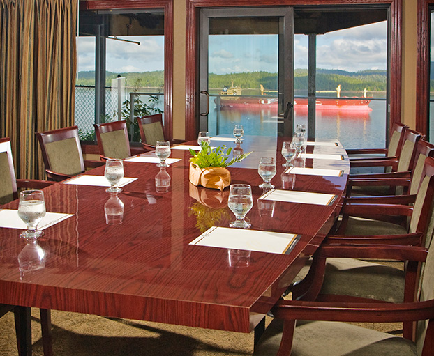 Business table overlooking the water