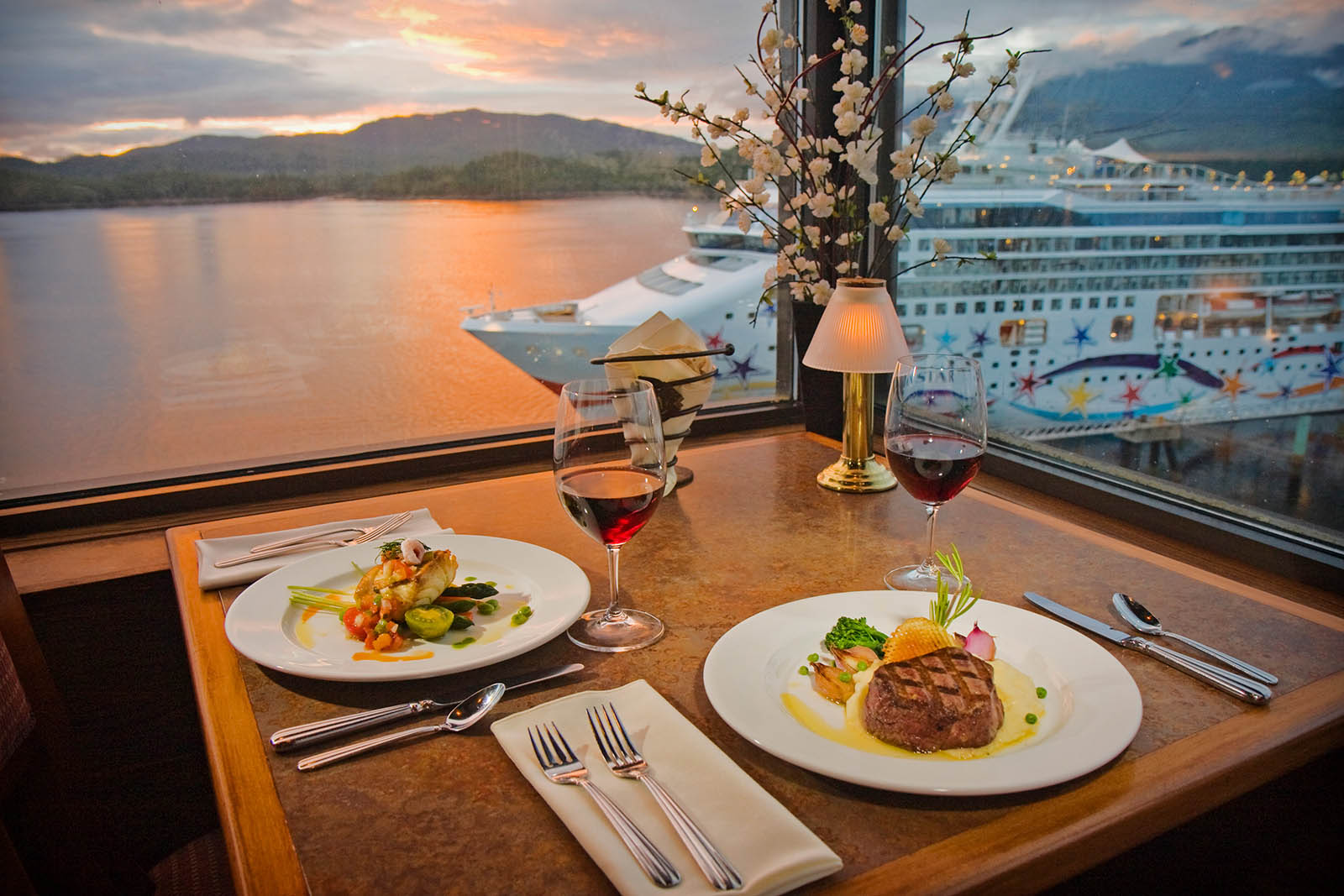 Romantic table looking down on cruise ship