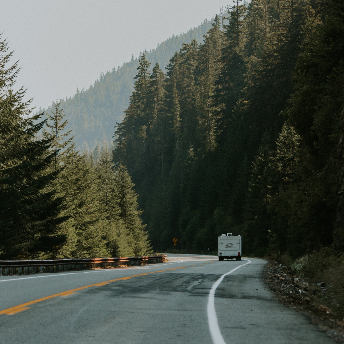 The Yellowhead highway traveling a mountain road