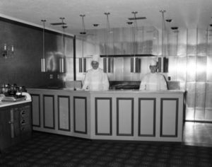 Black and white photo of chefs in 1963