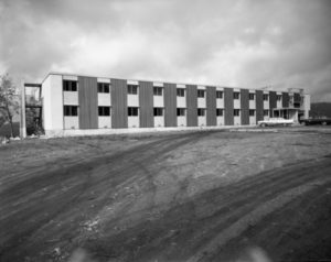 Black and white image of Crest Hotel, 1963