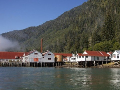 dock and buildings of North Pacific Cannery